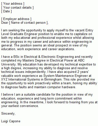Entry Level Covering Letter Sample