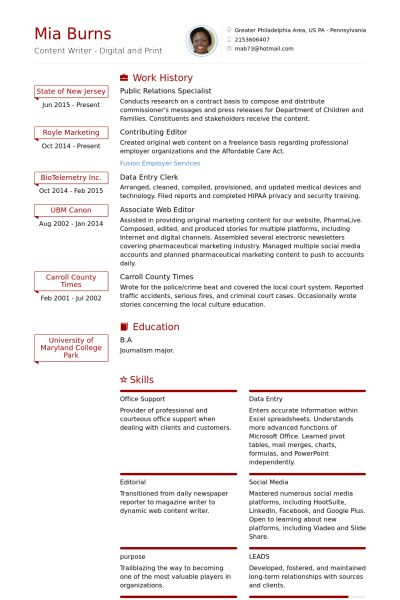 Public Relations Resume samples - VisualCV resume samples database