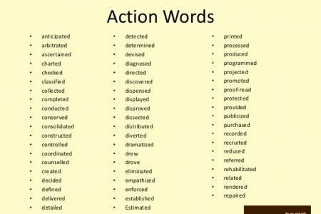 Resume action verbs teacher