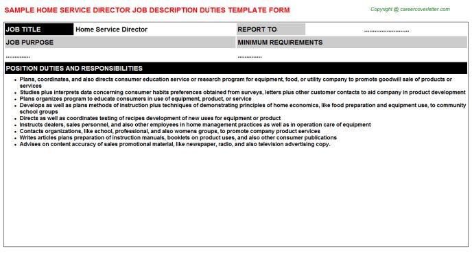 Home Service Director Job Description