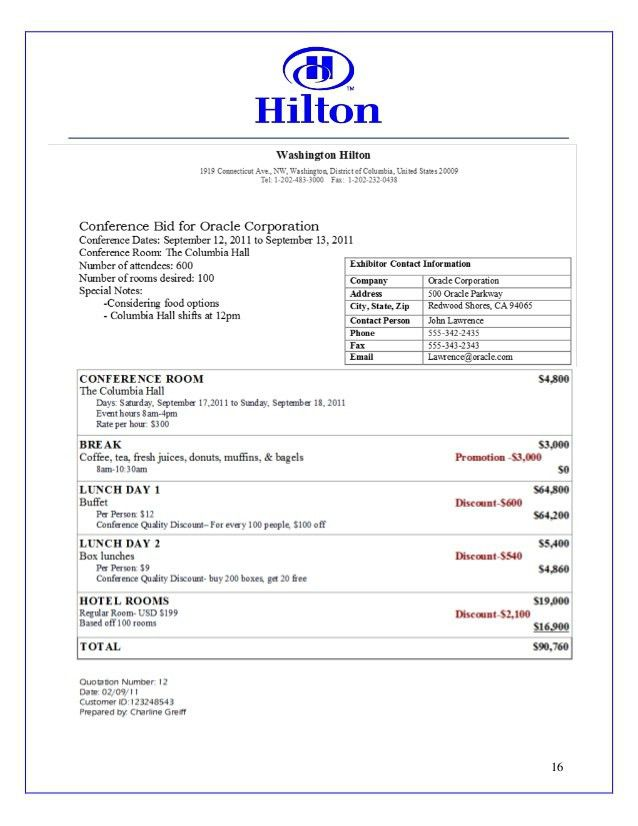 Hilton Sales Proposal Work Example