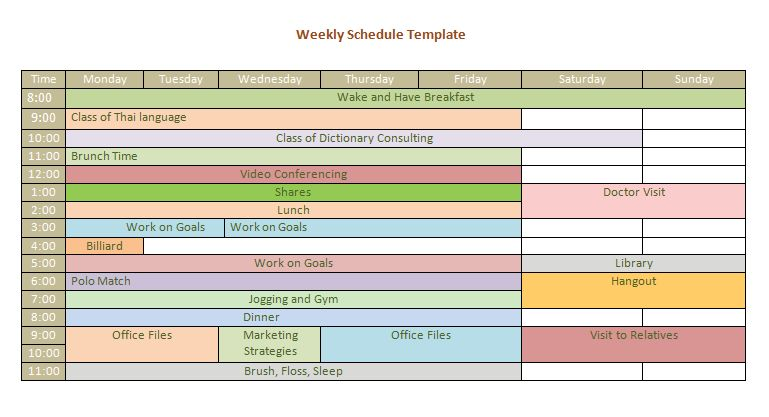 Track Workout Weekly Schedule Template | Formal Word Templates