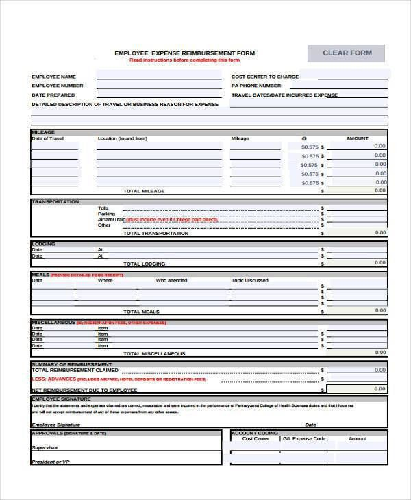 Sample Employee Expense Reimbursement Forms - 7+ Free Documents in ...