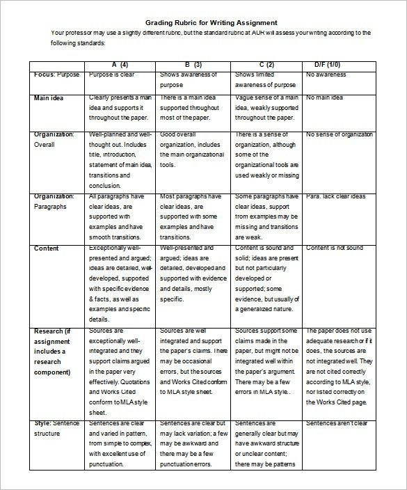 Rubric Template - 47+ Free Word, Excel, PDF Format | Free ...