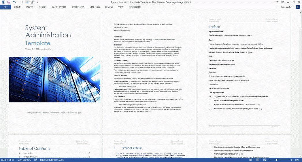 System Administration Guide Ms Word And Excel Template Sys Ad ~ Ptasso