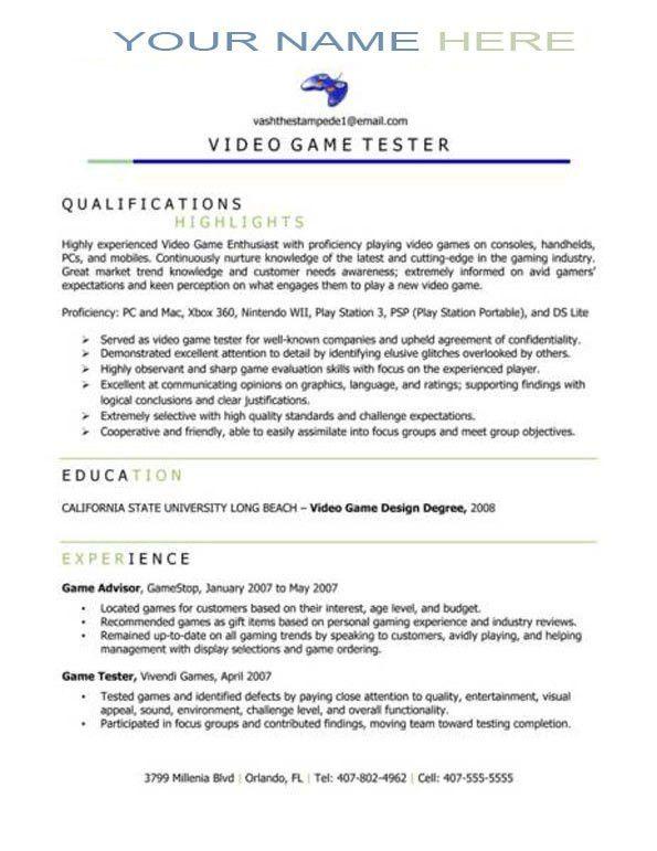 Video Game Tester Sample Resume