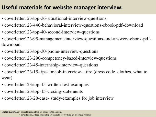 Website Manager Cover Letter