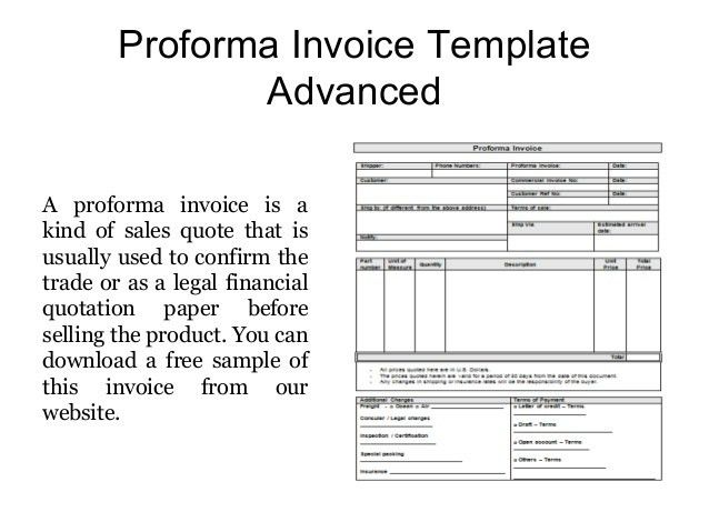 Proforma Invoice Templates - Free Samples