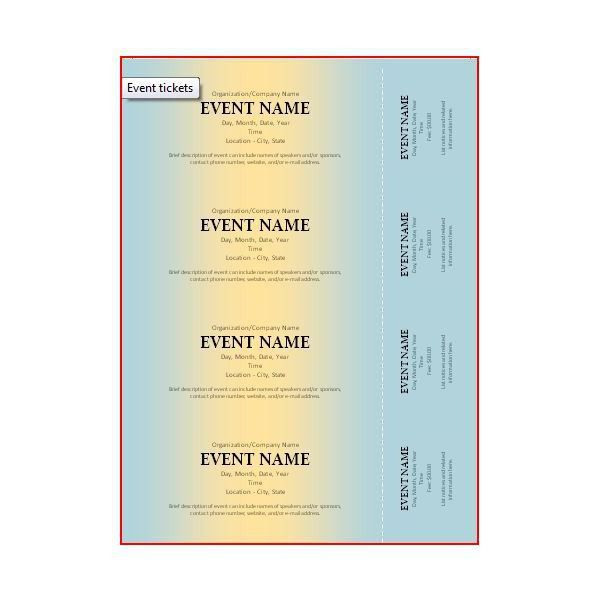 Event Ticket - Microsoft Office LOTS of templates here! | SLMS ...