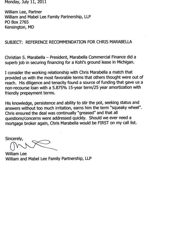 Letters of Reference | Marabella Commercial Finance