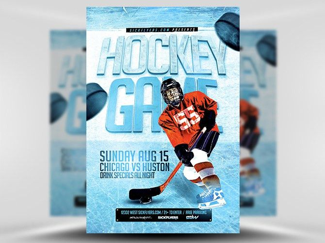 Ice Hockey Flyer Template - FlyerHeroes