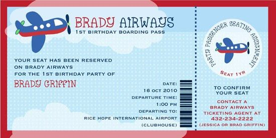 Airplane Birthday Invitations Ideas – Bagvania FREE Printable ...