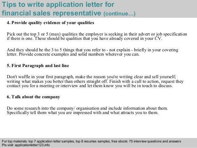 Financial sales representative application letter