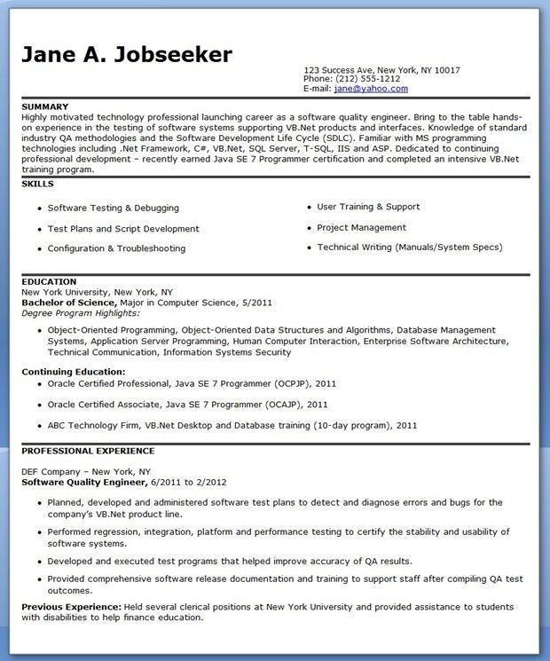 Quality Engineer Resume Template | Creative Resume Design ...