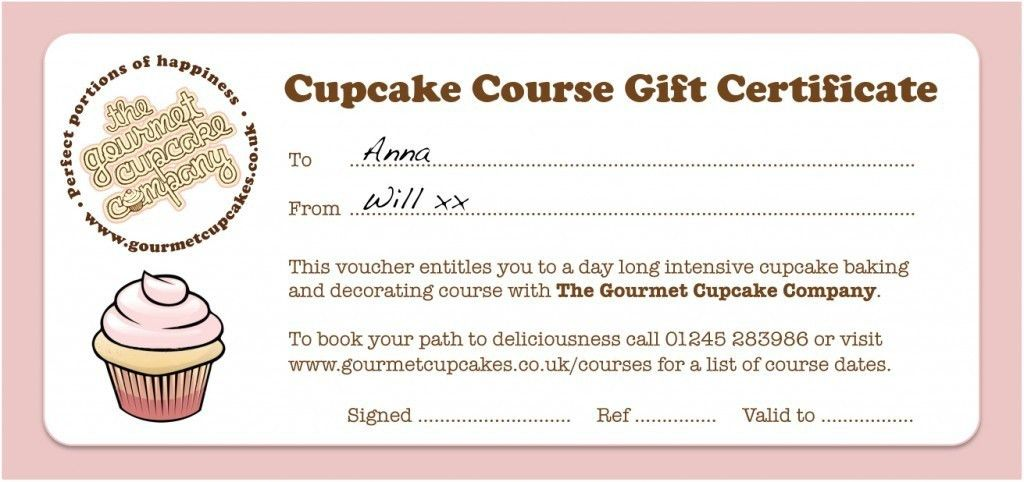 Interesting Gift Voucher Certificate Template Sample for Cupcake ...