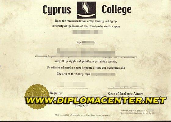 Cyprus College diploma, fake degree certificate_buy a diploma, buy ...