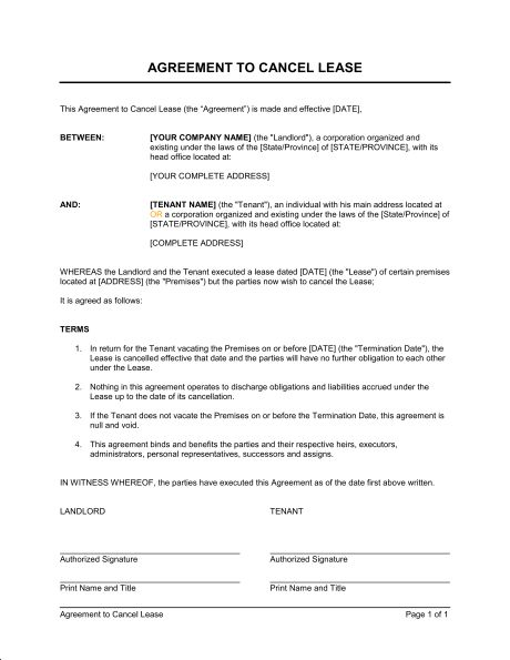 Agreement to Cancel Lease - Template & Sample Form | Biztree.com