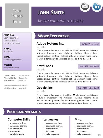 Cv Template Libreoffice | Professional resumes sample online