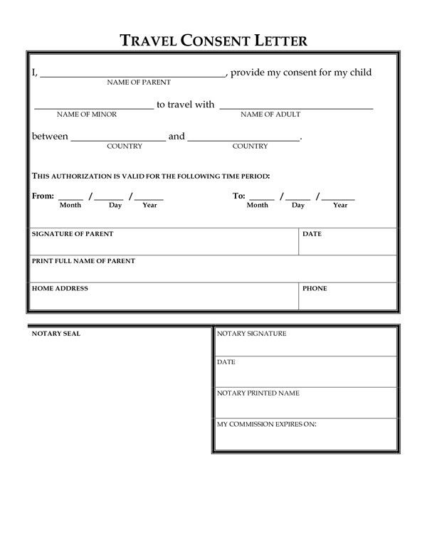 Consent to Travel Form | Sample Forms