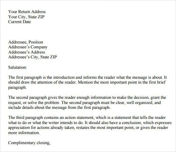 Example Of Personal Business Letter | The Letter Sample