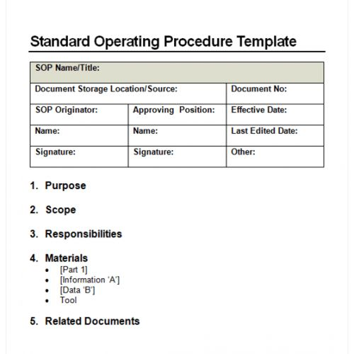 Standard Operating Procedure Template Free Sop Template Standard