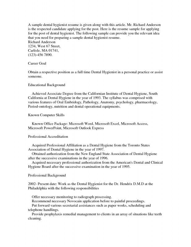 Dental Hygienist Resume. Dental Resume Example Resume Examples For ...