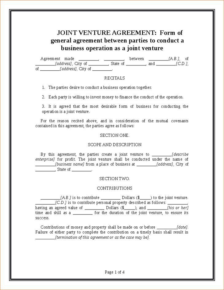 4+ joint venture agreement templateReport Template Document ...