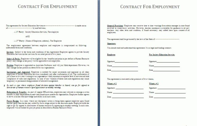 Employment Contract Template | Free Contract Templates