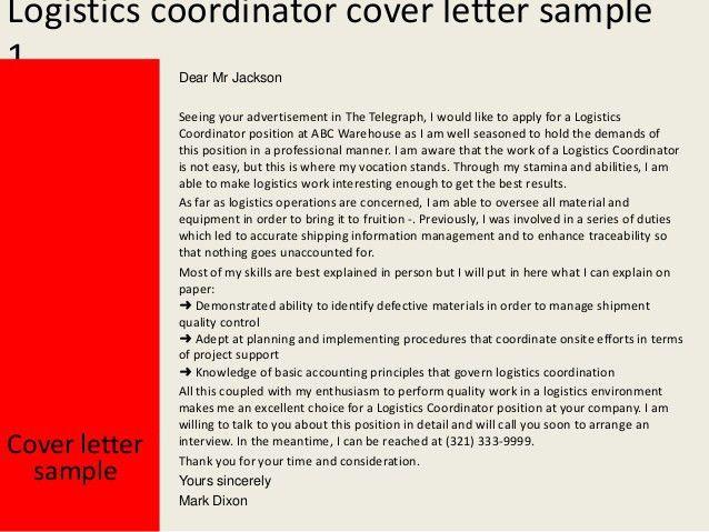 18+ [ Logistics Coordinator Cover Letter ] | Logistics Coordinator ...