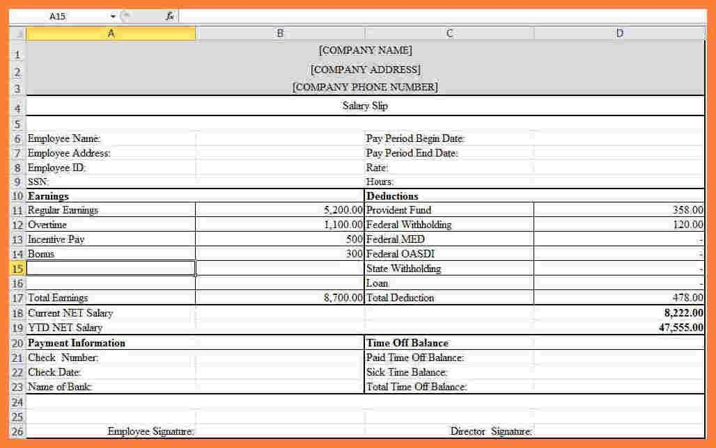 7+ free salary payslip template excel | Sales Slip Template