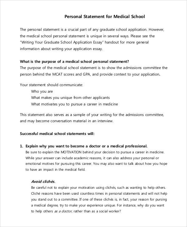 Sample Personal Statement For Medical School   7+ Examples In PDF