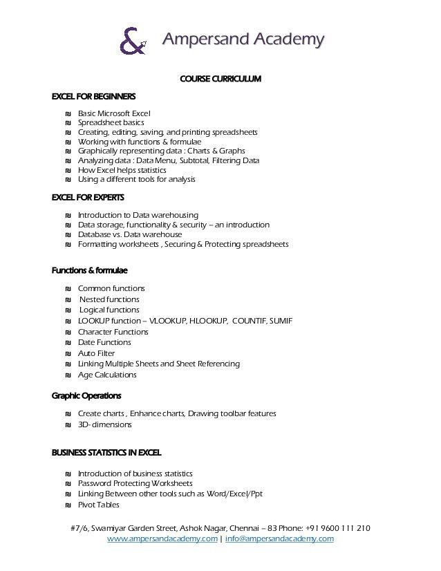 Business Statistics with Excel (Basic and Advance) Curriculum