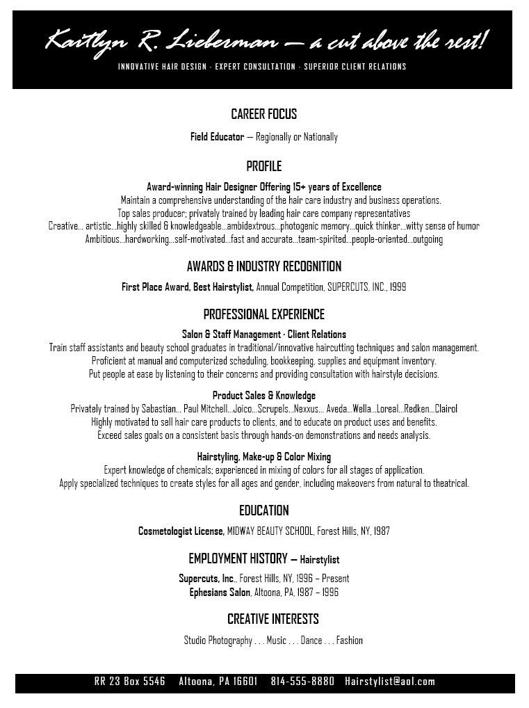 Beauty Salon Resume Sample. beauty resume sample we also have 1500 ...