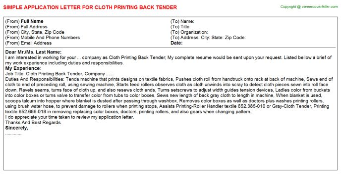 Cloth Printing Back Tender Application Letter