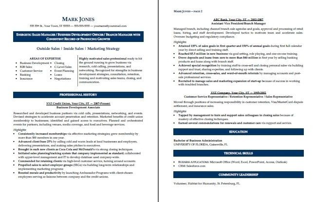 Sample Resume (Sales Manager)