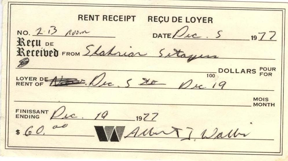 Rent Receipt Dec 5, 1977 $60 for 2 weeks for a Room Photo Credit ...