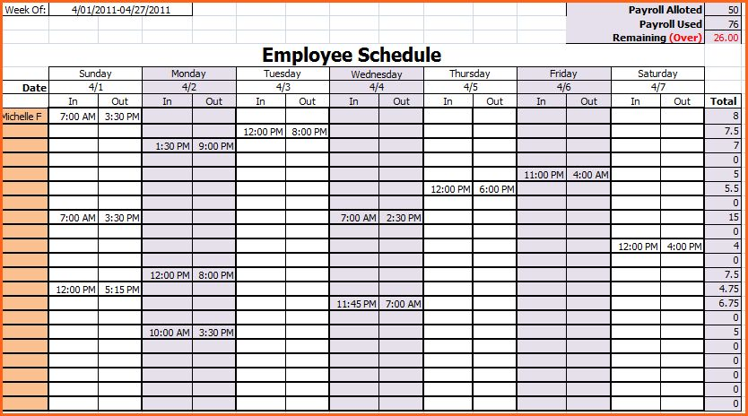 6+ weekly work schedule template excel - Budget Template Letter