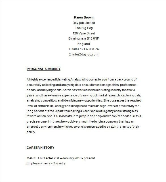 Marketing Analyst Resume Template – 16+ Free Samples, Examples ...