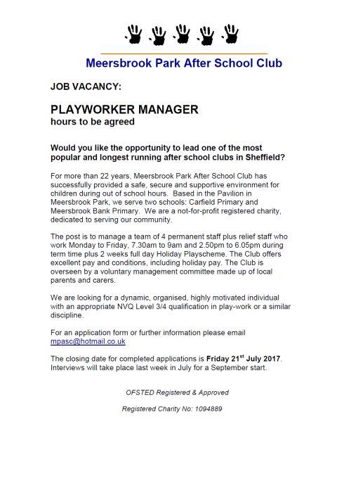 Meersbrook Park After School Club – Playworker Manager (Job ...