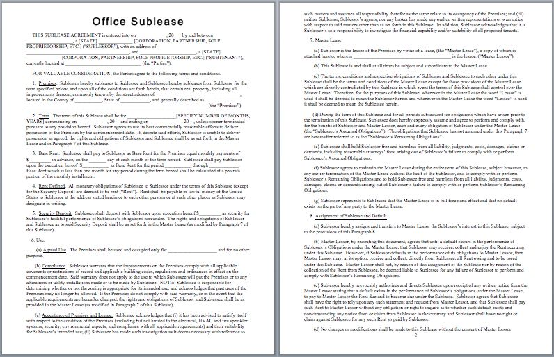 Office Sublease Agreement Template | Templates | Pinterest