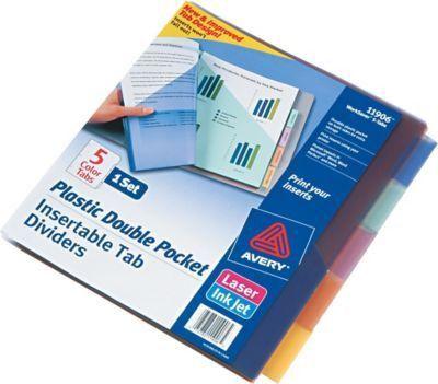 Avery® 11906 Big Tab™ Two Pocket Insertable Plastic Divider, 5 Tab ...