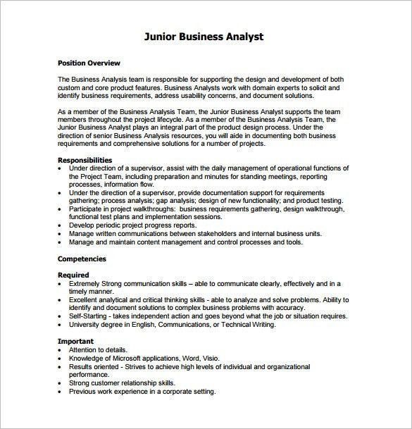 Business Analyst Job Description Template - 10+ Free Word, PDF ...