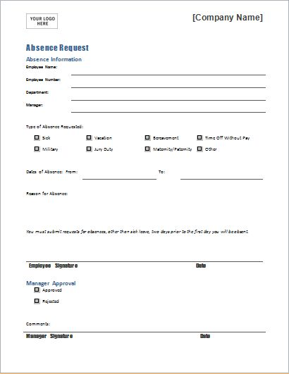 EMPLOYEE Absence Request Form Template for WORD | Document Hub