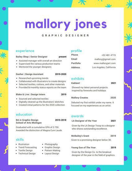 Yellow, Blue, and Purple Pattern Colorful Resume - Templates by Canva