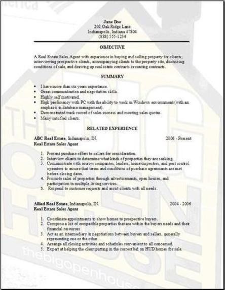 Real Estate Resume Sample | Free Resumes Tips