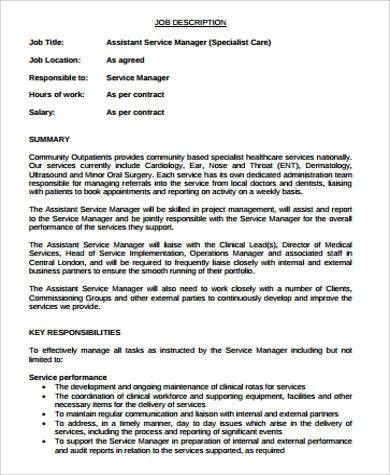 Service Manager Job Description Sample - 11+ Examples in Word, PDF