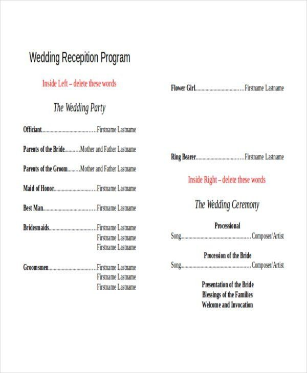 Wedding Reception Program Template | Best Template Examples
