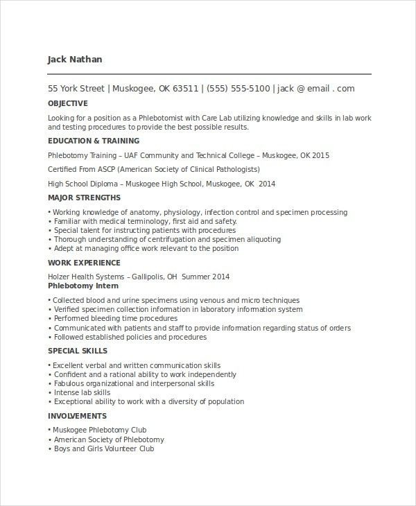phlebotomist resume sample phlebotomist resume sample download