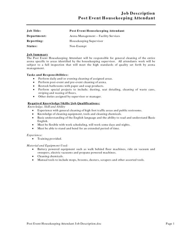 Effective Housekeeping Resume For Job Description : Vntask.com