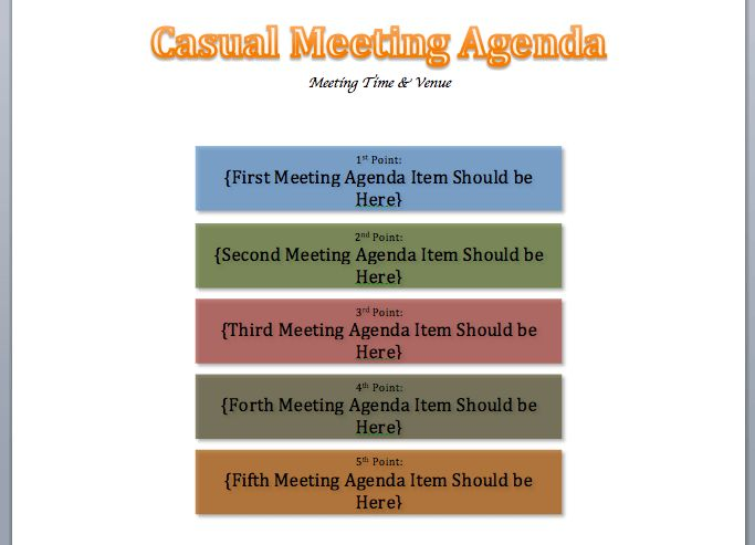 Casual Meeting Agenda Template | Printable Meeting Agenda Templates